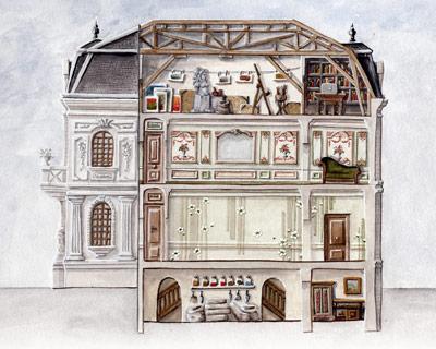 Sophie Canillac muralistes.art aquarelle d'un plan de bâtiment ancien